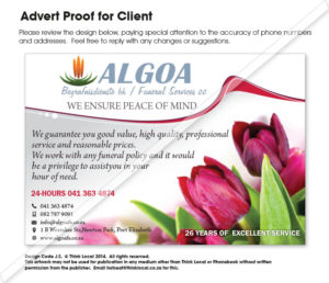 Algoa Funeral Services Advert